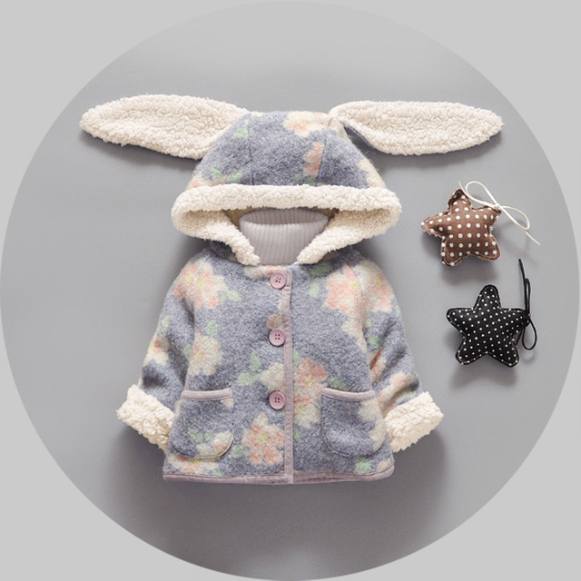 Winter coat 2016 new rabbit ear babys girl children plus clothes baby coat flower velvet thick girls newborn outerwear jacket
