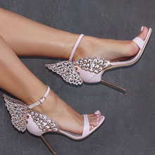 2017 New Fashion Women Valentine Shoes Bronzing sequins Big Bowknot High Heels Sandals Party Wedding Sandals(China)