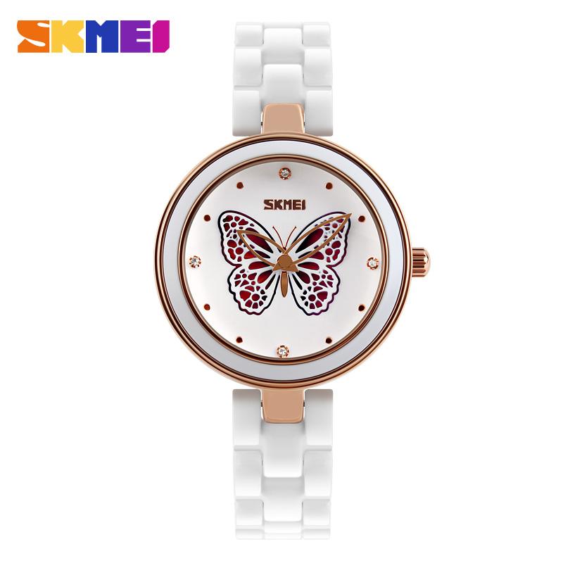 Prix pour Skmei quartz montres femmes de luxe de mode casual montres en céramique dame relojes mujer montres fille robe montre 9131
