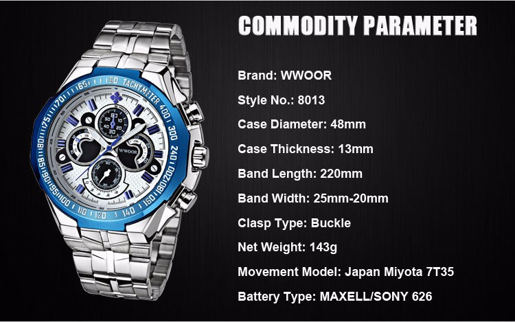 The New WWOOR Luxury Brand Men's Watches Stainless Steel Strap Sports Waterproof Watch Relogio Male Quartz Watch Leisure Watch 8