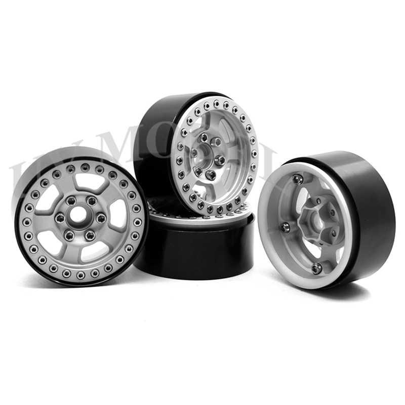 4 stks 1.9 inch Zilver Wielen 1.9 inch Beadlock Velgen voor 1/10 Axiale SCX10 CC01 D90 D110