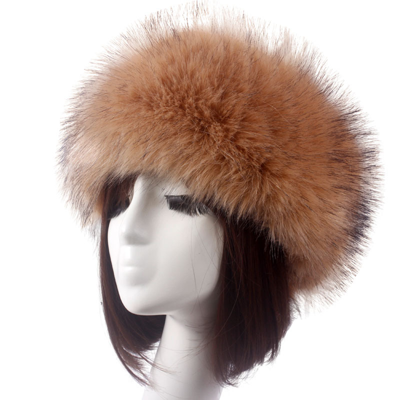 ZADORIN Winter Hat Fashion Faux Fox Fur Headbands For Women Earwarmer Russia Faux Rabbit Fur Hat Caps Fluffy Snow Cap Soviet Cap