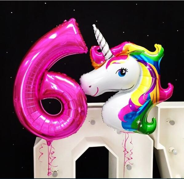 DIY <font><b>Unicorn</b></font> <font><b>Party</b></font> <font><b>Decoration</b></font> little pony for kids 1st Birthday <font><b>Party</b></font> <font><b>Decoration</b></font> Kids Baby Shower 40inch number helium balloons image