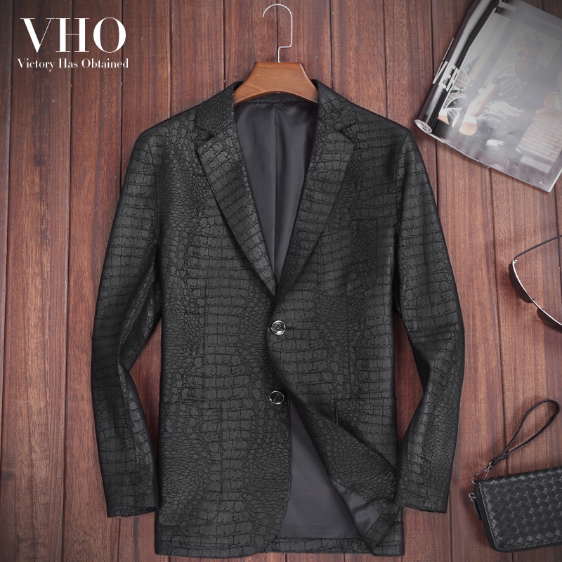 VHO Jacket Sheepskin-Coats Genuine-Leather Real Slim Autumn Casual for Men Fashion Suit