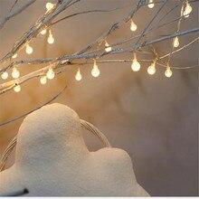 цена на 10M 100Led Garland Crystal Balls indoor String Lights Festoon Ball Light Bulbs Flash Warm white Guirlande Lumineuse Verlichting