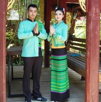 South West Asia dress Suit Thailand Vietnam Laos Burma Vietnam traditional Style hotel restaurant waiter work uniforms set
