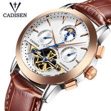 CADISEN Genaine Leather Tourbillon Watches Men's Mechanical Sport Wristwatch Luxury Brand Multifunction Clock Relogio Masculino
