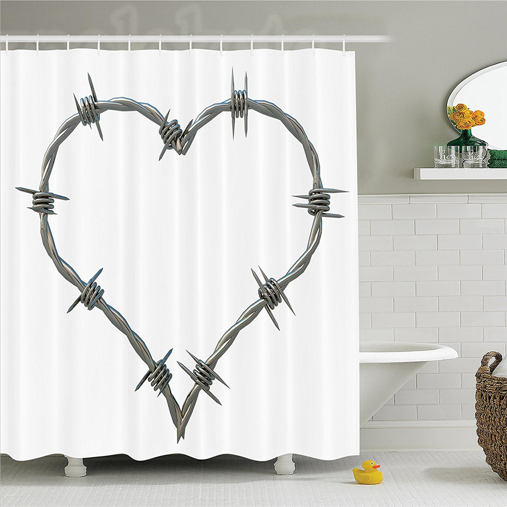 Barbed Wire Heart Metallic Rope Twisted Secure Safety Themed Illustration Polyester Bathroom Shower Curtain Set With
