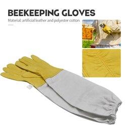 Apicultura luvas de pele de carneiro Luvas Protetoras Ventilado Profissional e lona Anti luvas de Abelha para a apicultura