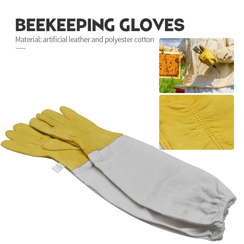 Luvas de apicultura luvas protetoras ventiladas pele carneiro profissional e lona anti abelha para apicultura luvas apicultura