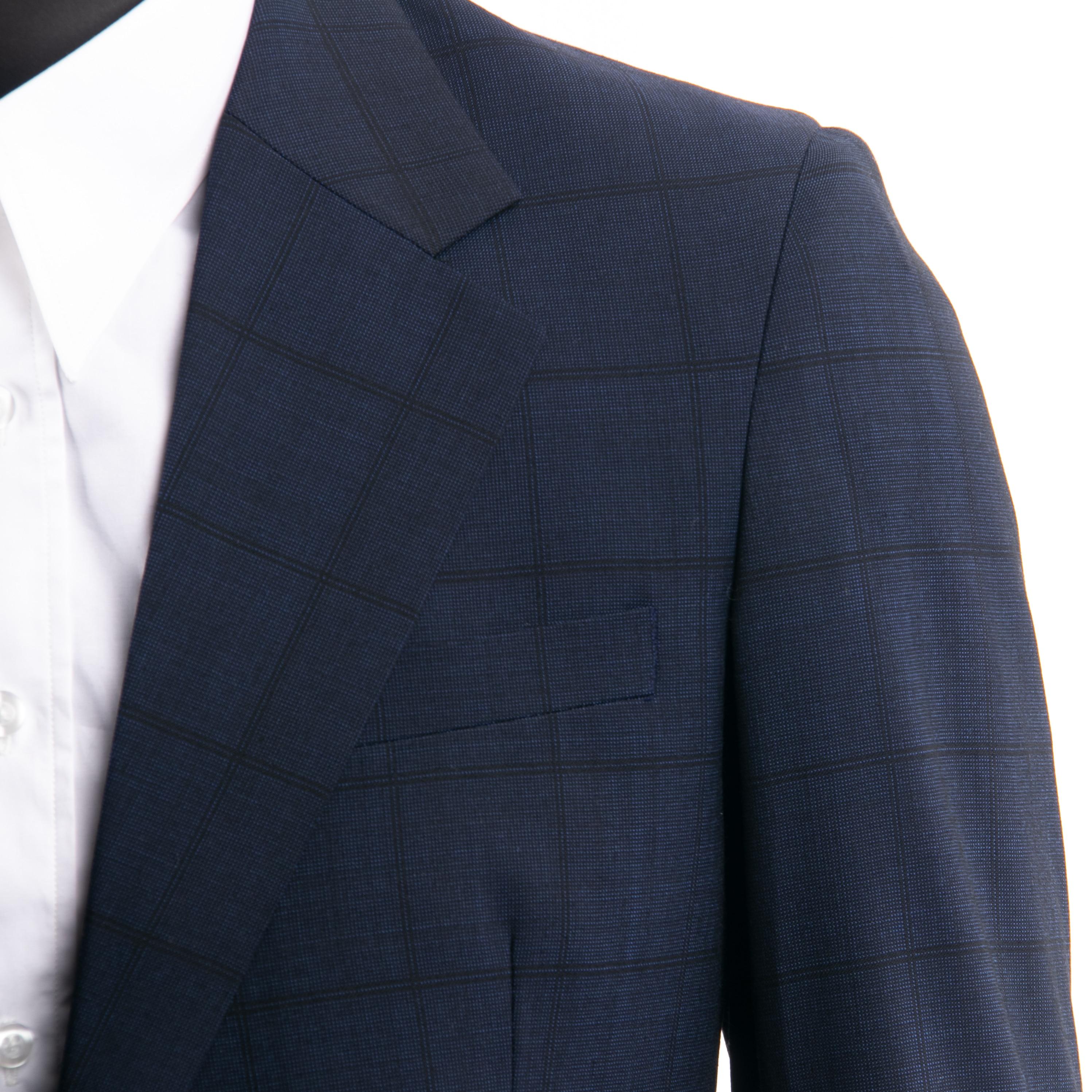 Smart Casual Navy Plaid Anzug Nach Maß Slim Fit Dunkelblau Windowpane Anzüge Mit Nailhead Muster, subtile Plaid Wolle Mischung Anzug-in Anzüge aus Herrenbekleidung bei  Gruppe 1
