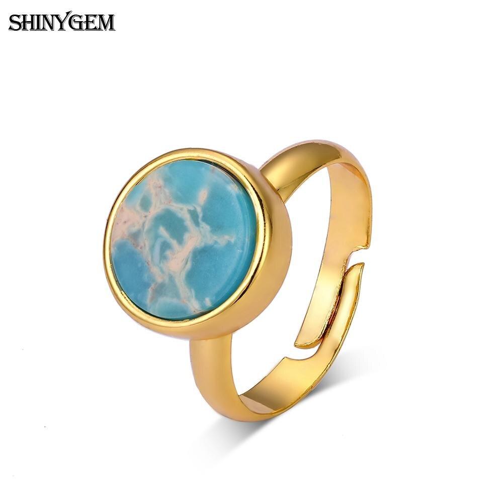 ShinyGem Vintage Sea Sediment Jaspers Ring Adjustable Gold Plating Retro  Wedding Ring Light Colors Natural Stone Rings For Women