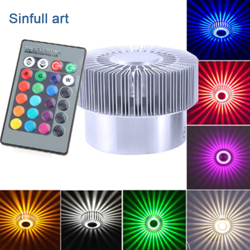 Modern Creative RGB Wall Lamp 3w LED Wall Light Bedroom Remote Sconce Aluminum Stair lights Holiday Decoration Lighting Fixtures