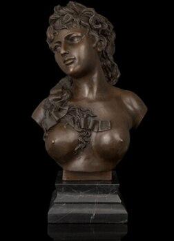 Buda de Bronze cobre decoração Fino O mais vendido fácil limpeza Busto de Bronze mulher Nua estatueta Escultura Em Mármore base de Arte