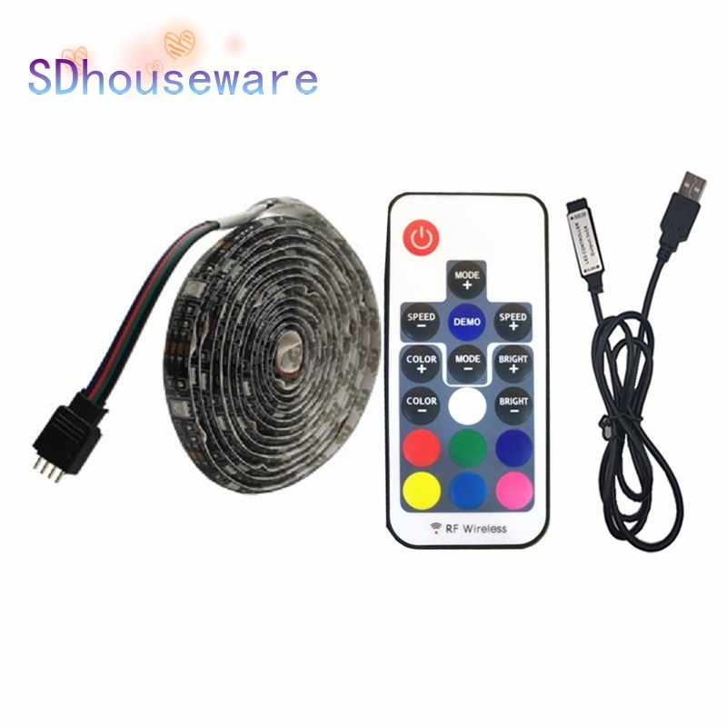 DC5V USB LED Strip RGB 5050 RGBW Putih 50 CM 1 M 2 M TV Pencahayaan Latar Belakang Flexibe LED Strip pita Perekat IP20/IP65 Tahan Air