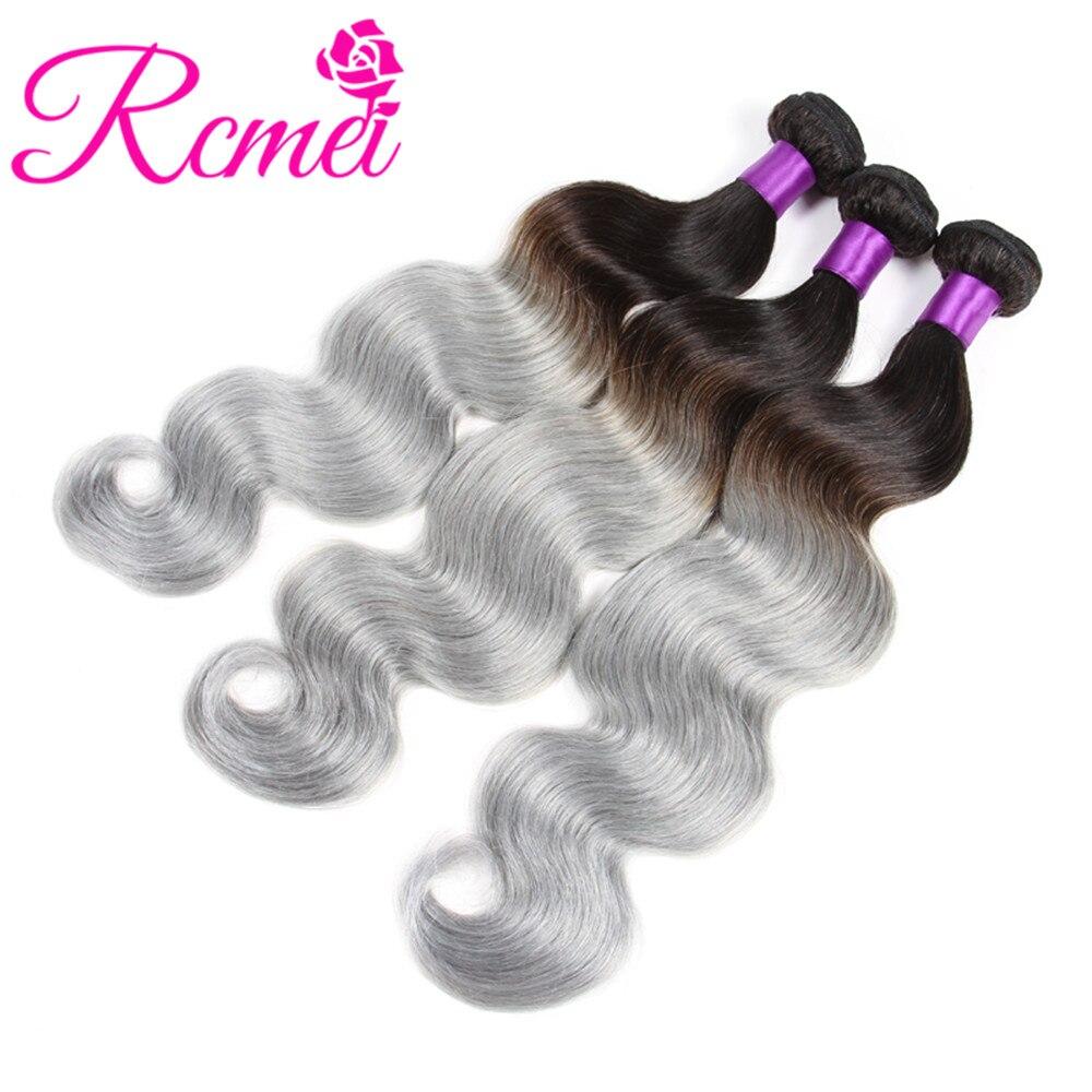 Rcmei Omber Hair Bundles Brazilian Body Wave Human Hair 1B/Grey Bundles Pre Colored Dark Roots 2 Tone Grey Bundle Pack 3PCS Deal