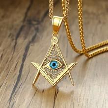 Modyle Free Mason Eye of Providence Illuminati Pyramid All Seeing Eye Pendant for Men Stainless Steel CZ Stone Punk Necklace