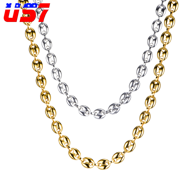 US7 Coffee Beans Link Chain 11MM Necklace For Men Stainless Steel Rope Link chain Necklaces Fashion Hip hop Men Jewelry Chain Necklaces    - AliExpress