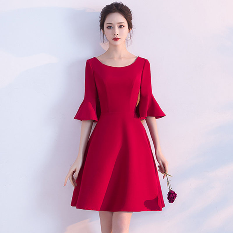 Sexy Red   Cocktail     Dresses   Mini Women Avondjurken Gala Jurken Elegant Vestidos De Festa Bell Sleeve Eveninig Party Gown