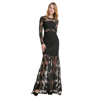 TFGS Original Design Women Organza Embroidery Hollow Out Dresses For Sexy Party Women Perspective Long Sleeve