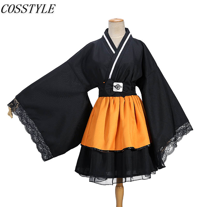 Japanese Anime NARUTO Shippuden Uzumaki Naruto Cosplay Costumes Adult Lolita Kimono Cosplay Costume Lolita Dress for Women New