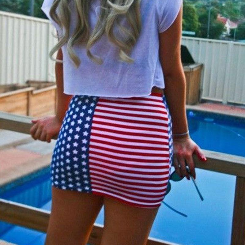 2017 New Women Pack Skirt Bodycon American Flag Printing Summer Mini Female Skirts Tight Casual Leisure Chic Fashionable Skinny