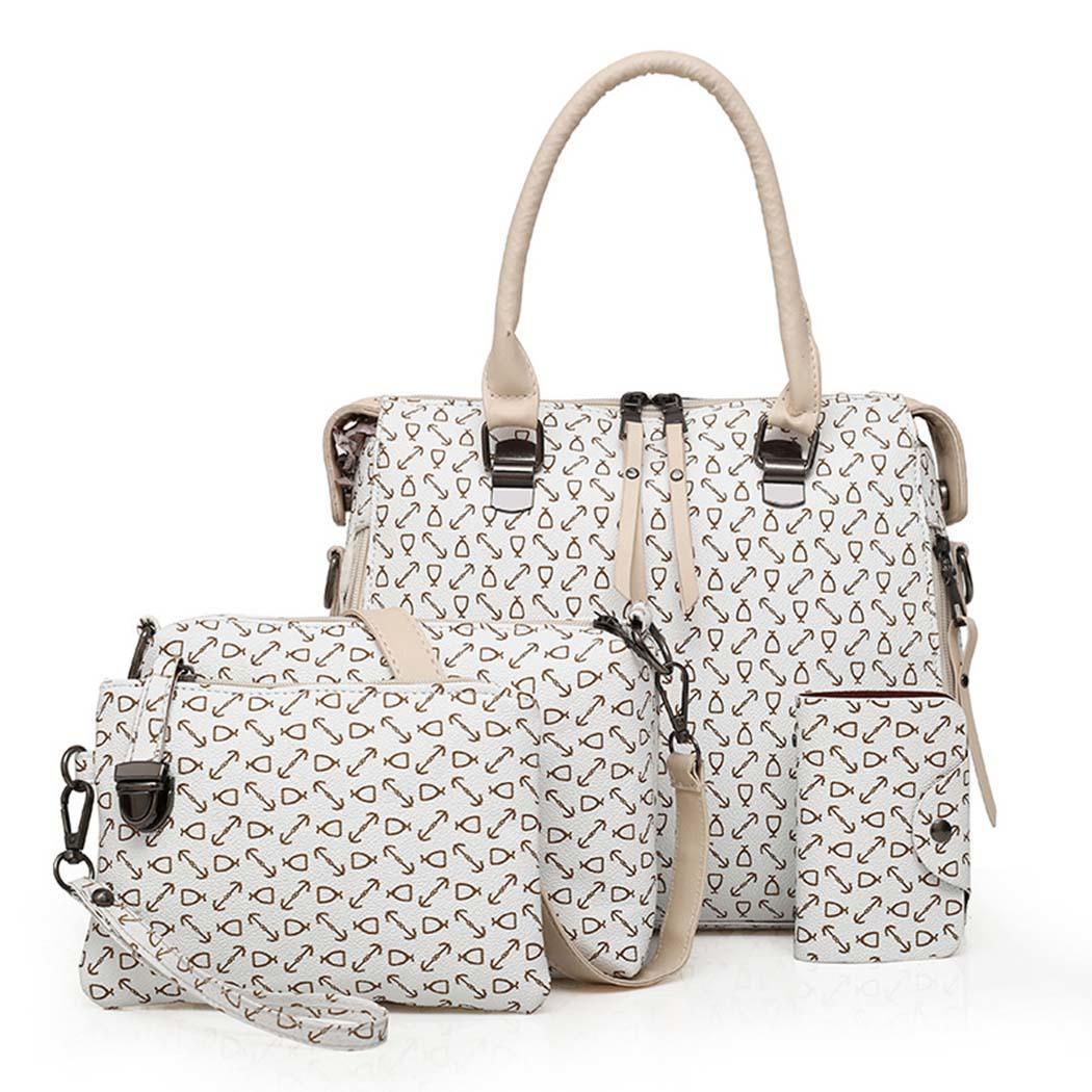 Hobos 4Pcs Bag Purse Interior Kit Kit PU Fashion Shoulder Women Tote Slot Satchel New Wallet Pocket Square Handbag Casual Bags