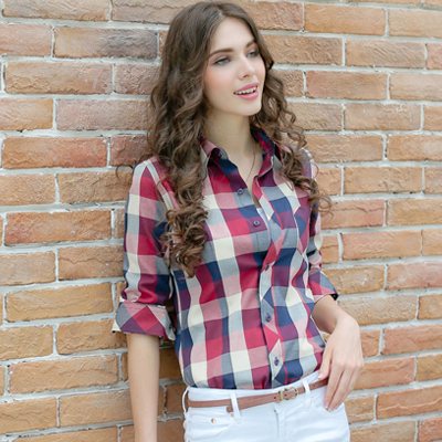 Plaid Shirt Female Long Sleeve Plaid Shirts For Women Loose Plus Size  Ladies Checked Shirt Women Scottish Checkered Shirt Women di Blus   Kemeja  dari ... 5dfd8e0a1d