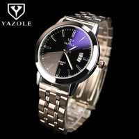 YAZOLE Luxury Brand Analog Display Auto Date Blue Glass Men Full Steel Quartz Watch Business Wrist