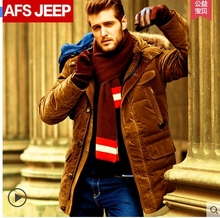 Hot!Free shipping !!The new 2017 Field jeep raccoon fur collar white duck down down jacket In the men's fashion long warm coat