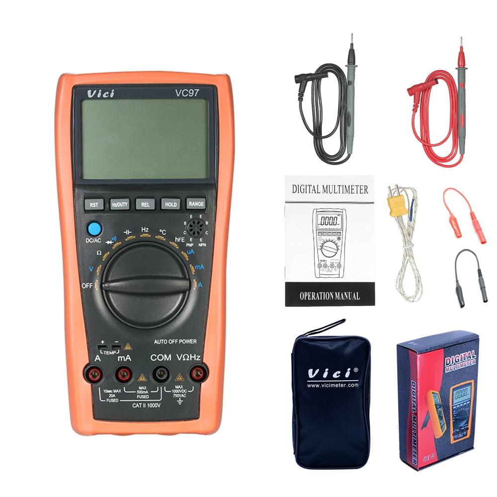 VC97 Digital Multimeter Auto Range 1000V DMM Temperature Detector DC AC Voltage Current Meter Capacitance Resistance Diode holdpeak hp 770g auto range digital multimeter dmm dc ac voltage current temperature meter tester diode multimetro