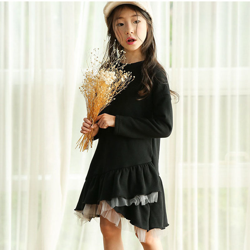 Mesh Patchwork Warm Little Kids Clothing Dresses Autumn Winter Black Big Girls Long Sleeve Sweatshirts Dress Children Clothes children clothing new winter style knitted thick warm girl dress mesh patchwork o neck cute autumn baby kids girls dresses xl269