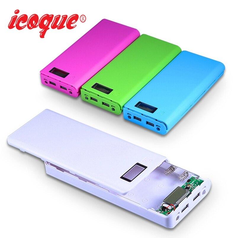(Sin batería) 20000 mAh Banco de la energía 18650 caja linterna USB caso Powerbank para Xiaomi Huawei cargador de teléfono móvil Pover Banco de la energía