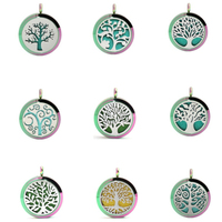 5PC 30mm 316L Stainless Steel Rainbow Life Tree Aromatherapy Essential Oil Locket Necklace Pendant With Chain 10 Pads