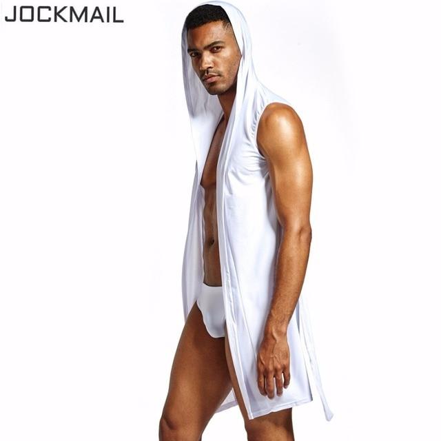 f111456d33 JOCKMAIL Nylon Ice Silk bathrobes for men Gay Loungewear nightgown robe  sets sexy kimono bath robes mens sexy pajamas sleepwear