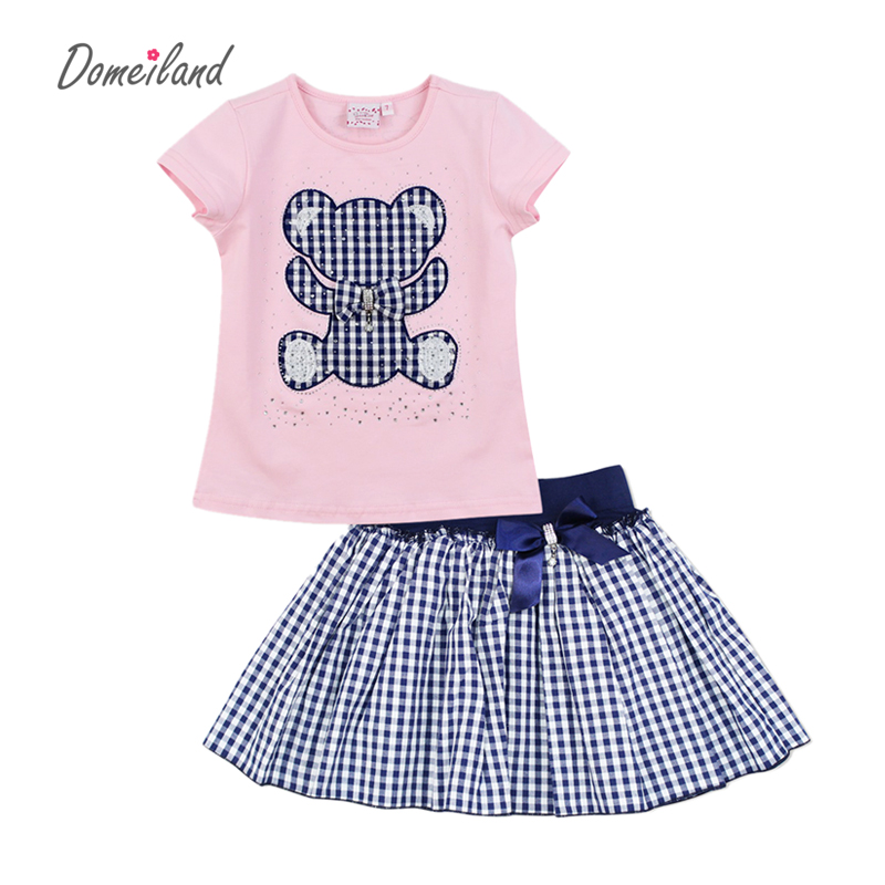 2017 fashion summer domeiland children clothing sets kid girl outfits Rhineston bear short sleeve cotton t