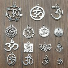 10pcs Charms Om Vintage Antique Silver Plated Om Pendant Charms Yoga Om Charms Jewelry Accessories(China)