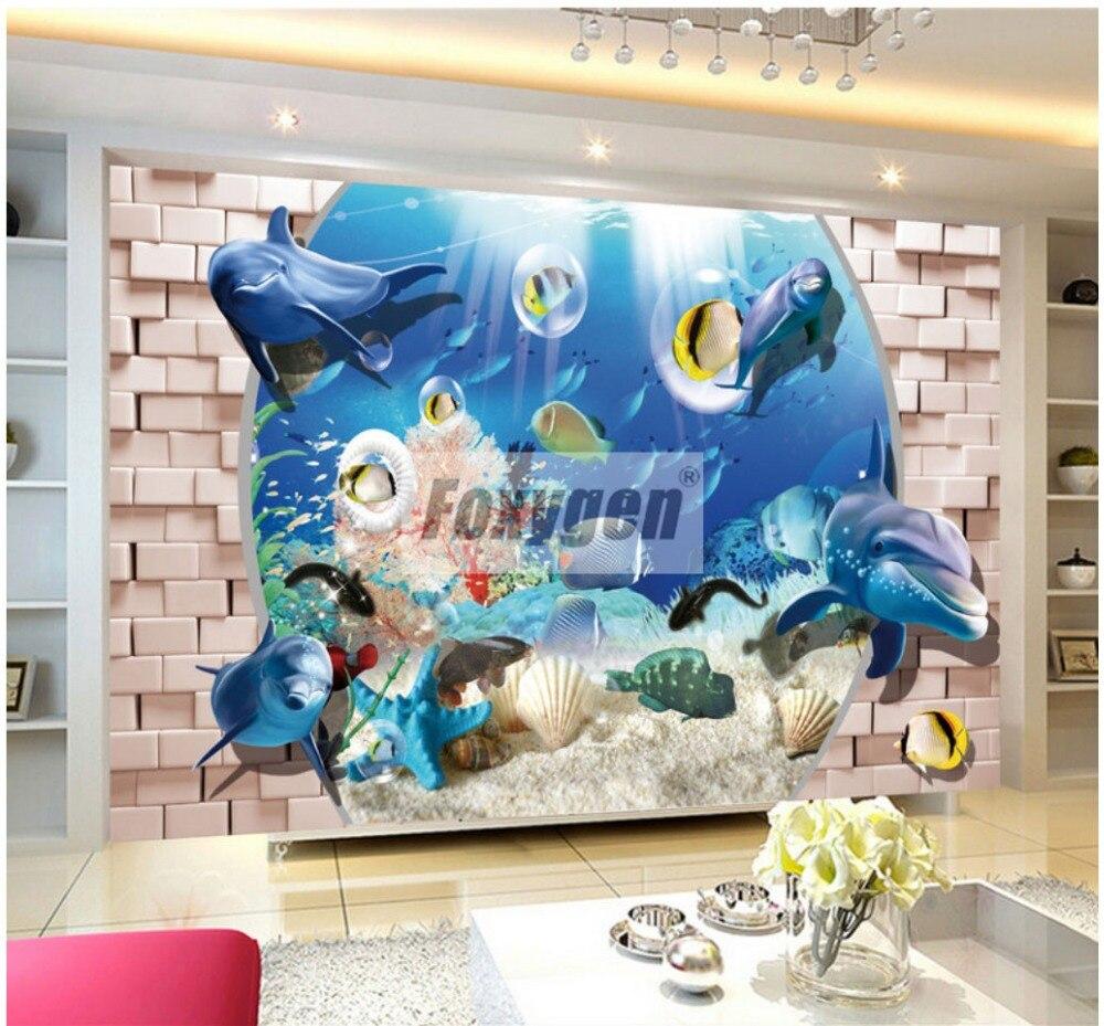 3dアート壁紙海と海洋イルカ抽象デザイン壁画子供のため Wallpaper Sea Designer Wallpaperwallpaper Design Aliexpress
