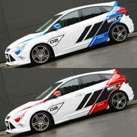 Custom Racing Stickers Vinyl Racing Stripes Car Body Decoration Racing Decal Suit For Ford Focus Mustang Fiesta Mazda VW Skoda