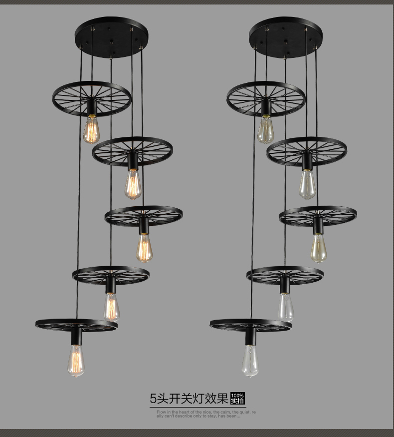 lamps Loft creative personality retro Restaurant Bar bull pendant lamp American country iron wheel Pendant light industrial mill american creative personality retro loft lamps and lanterns iron art cafe clothing store restaurant lamp