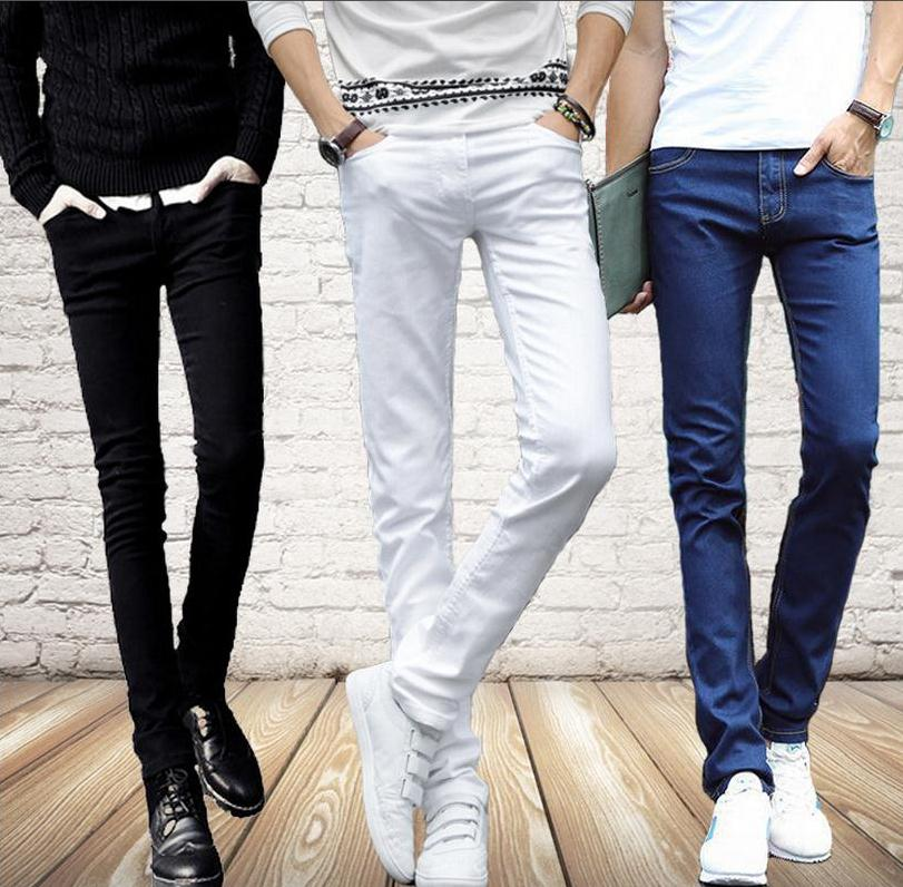 Wholesale 2018 Indoor Casual Denim students Cowboy black/white/blue Skinny   jeans   men stretch boy teenagers pencil pants men