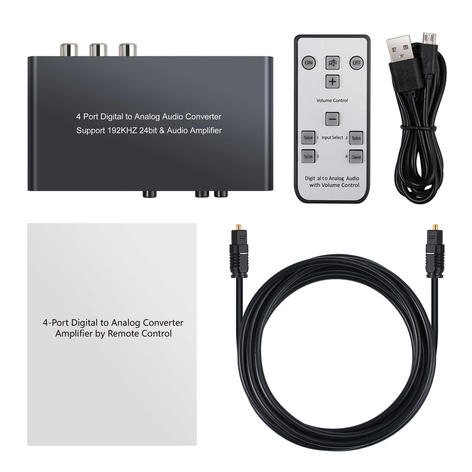 ESYNiC 192kHz DAC Converter con IR Remote Support Controllo Del Volume Coassiale/Toslink/Ottico ad Analogico L/ R RCA Adattatore Audio da 3.5mm