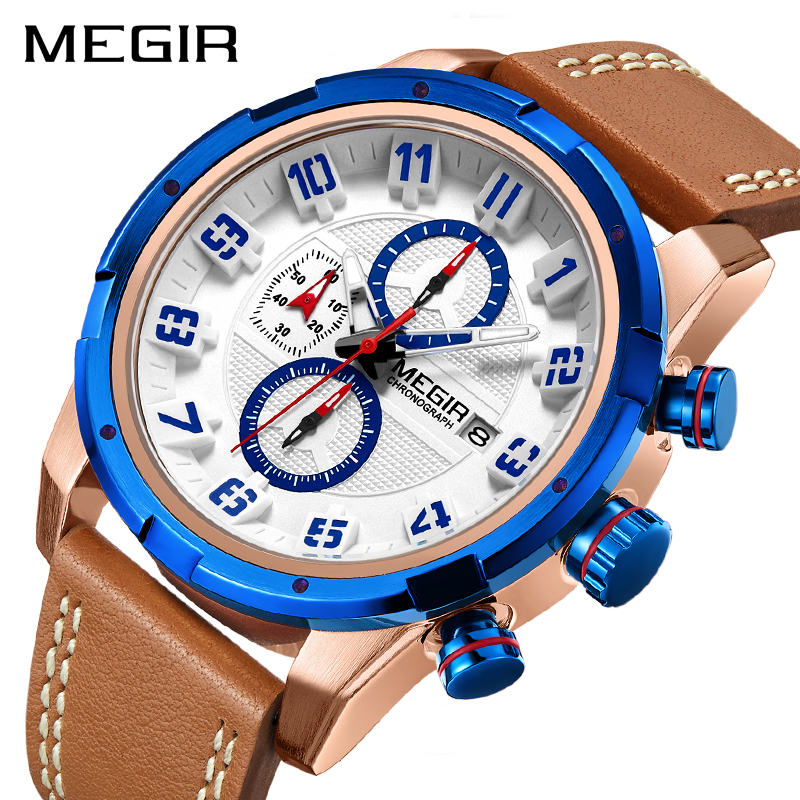 MEGIR Creative Chronograph Sport Watch Men Clock Leather Quartz Men Wrist Watches Time Hour Army Military Wristwatches Relogios-in Quartz Watches from Watches on AliExpress - 11.11_Double 11_Singles' Day 1