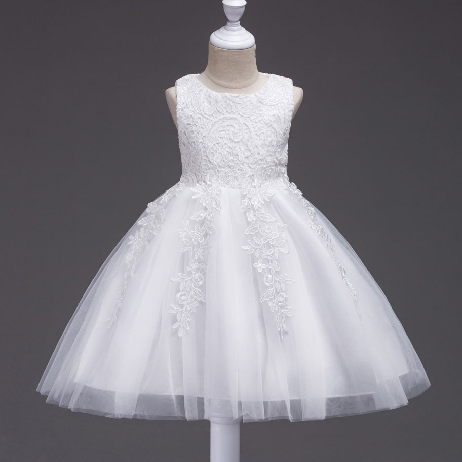 Girls Bridesmaid Long Dresses White Pink Wedding Pageant Party Gown