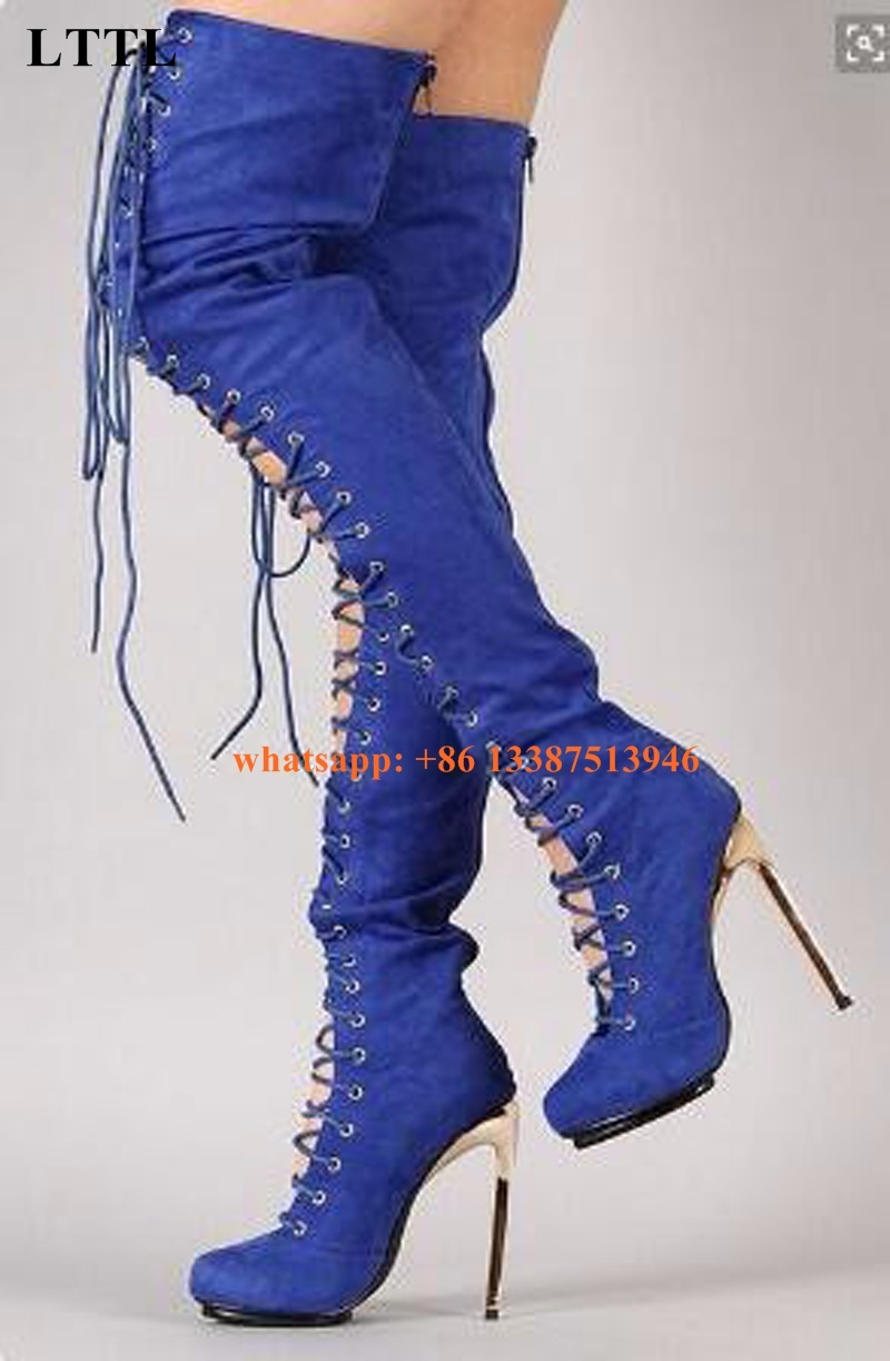 Hot Selling Women Round Toe Suede Leather Lace-up Over Knee High Heel Boots Stiletto Heel Cut-out Long Gladiator Boots