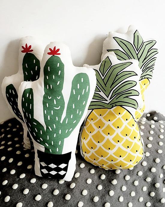 Vivid Green Plant Cactus Fresh Pineapple Cushion Stuffed Decorative Baby Pillows Car Sofa Store Home Decoration Prop Cushion sofa cushion cover fresh plaids pattern square supple pillowcase