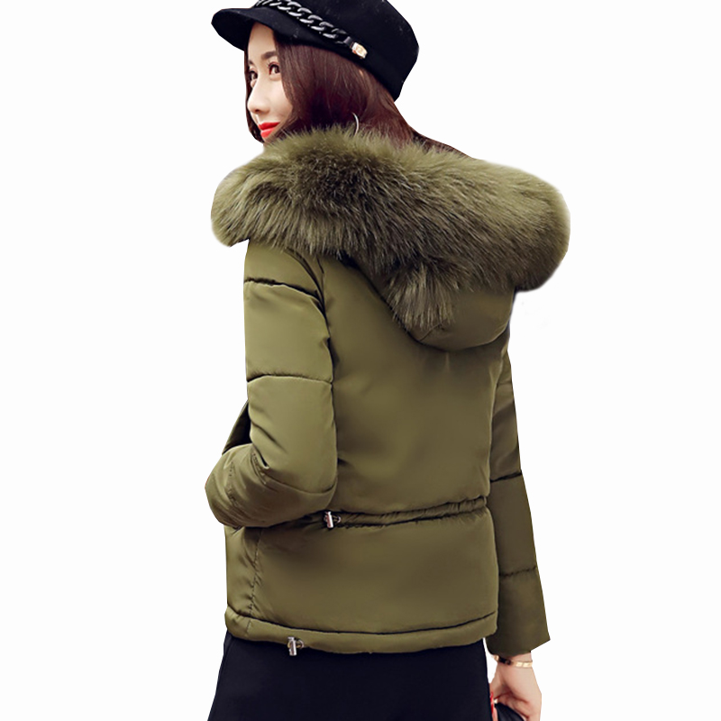 Slim With Winter Overcoat New Black Zs316 Cotton Female Womens orange Big green Padded Short 2018 Parkas Fur yellow Coats Jacket Hooded Red Warm Collar wqxIn7TOrq
