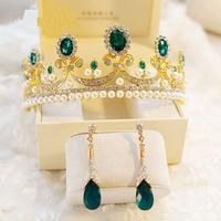 Luxury Green Stone Crown Hairbands For Wedding Bridal Fashion Gold Pearl Stone Paved Rhinestone Jewelry Sets Women Girlfriend