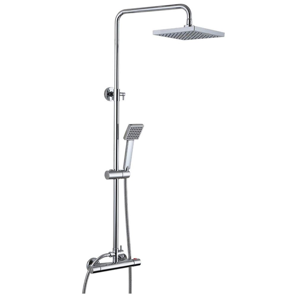 THERMOSTATIC SHOWER MIXER CHROME BATHROOM LED SHOWER TWIN HEAD SQUAREP  Select:Square LED Shower Set