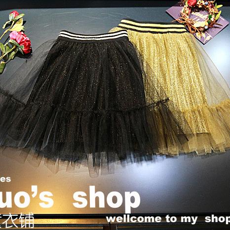 Moda 2017 primavera negro tutú de la falda mullida pettiskirt para niños falda 2-8years niños de encaje falda plisada princesa de Oro